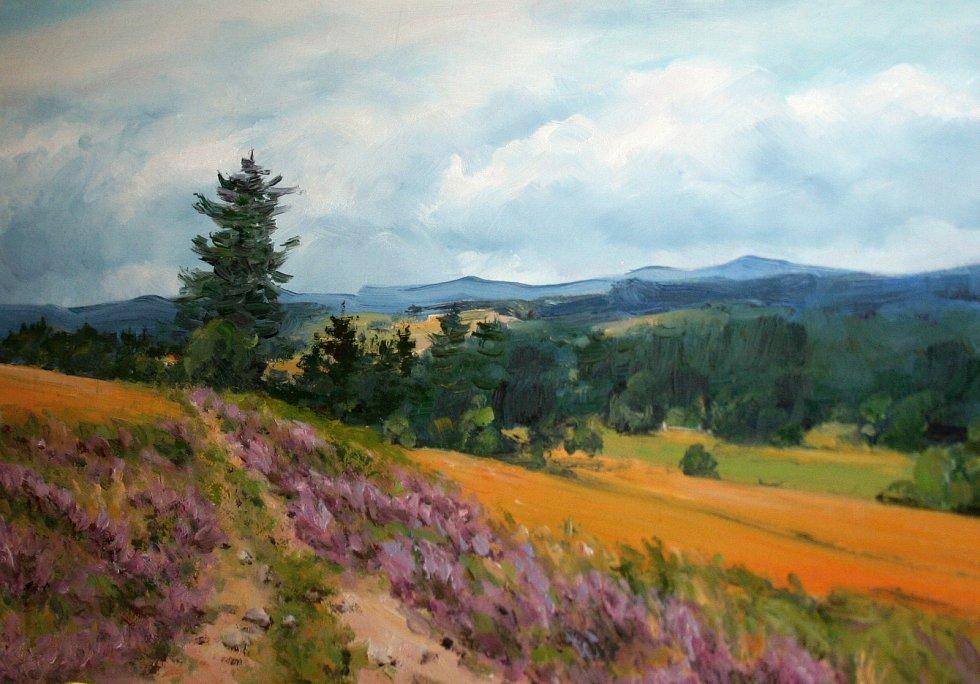 Letošní výstava malířky Heleny Puchýřové nese název Obrazy přívětivé krajiny.