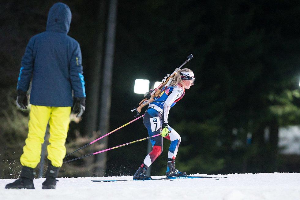 Sprint žen v rámci Světového poháru v biatlonu v Novém Městě na Moravě. Na snímku: Eva Kristejn Puskarčiková.