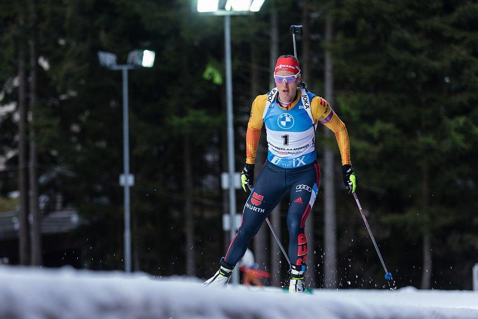 Denise Herrmannová v závodu Světového poháru v biatlonu v závodu sprintu žen na 7,5 km.