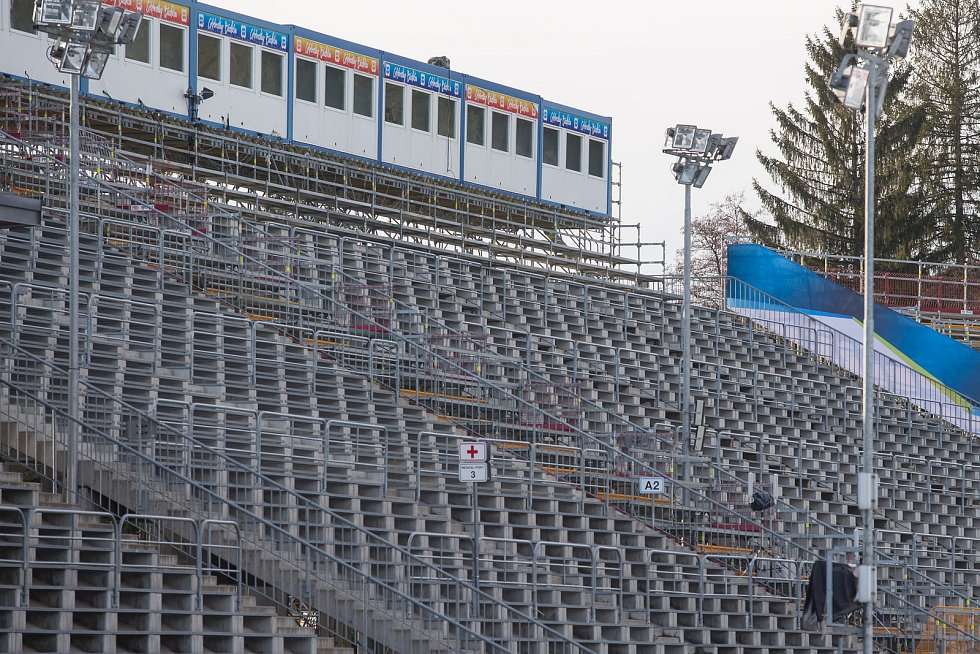 Vysočina aréna před Světovým pohárem v biatlonu z 2. března 2020.