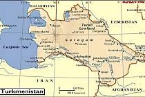 Mapa Turkmenistánu.