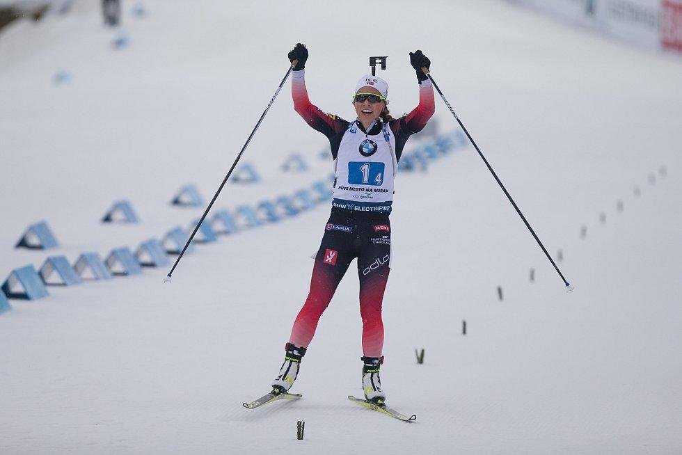 Závod SP v biatlonu (štafeta ženy 4 x 6 km) v Novém Městě na Moravě. Na snímku: Tiril Eckoff z Norska.