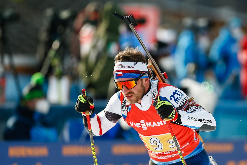 Milan Žemlička v závodu Světového poháru v biatlonu - štafeta 4 x 7,5 km mužů.