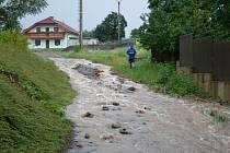 Záplavy v obci Ruda na Velkomeziříčsku.