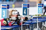 Vítězka Tiril Eckhoff v závodu Světového poháru v biatlonu v závodu sprintu žen na 7,5 km.