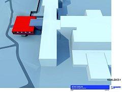Vizualitace přístavby dětského oddělení.