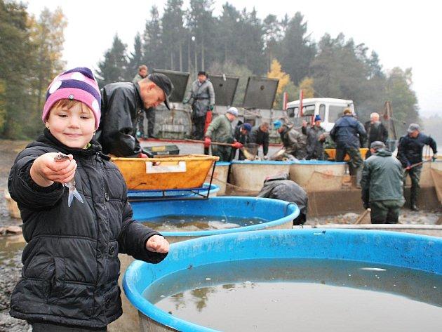 Rybáři vylovili Vazebný rybník na Bohdalovsku