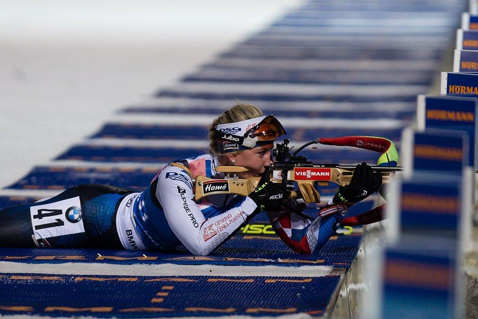 Sprint žen v rámci Světového poháru v biatlonu v Novém Městě na Moravě. Na snímku: Lucie Charvátová.