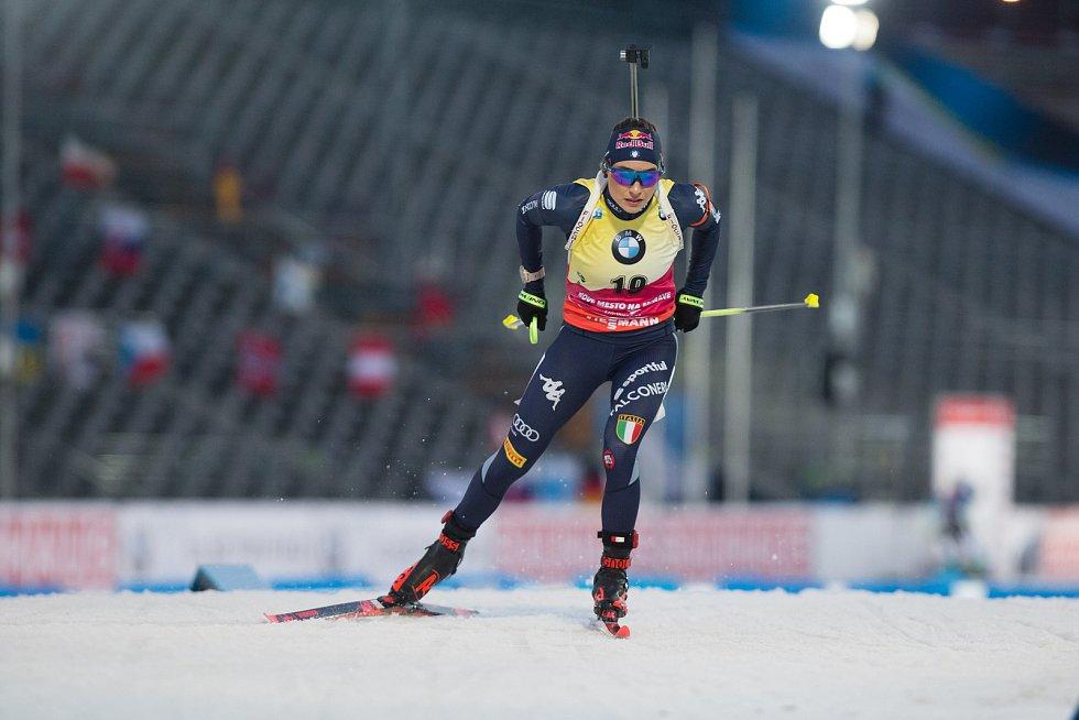Sprint žen v rámci Světového poháru v biatlonu v Novém Městě na Moravě. Na snímku: Dorothea Wierer.