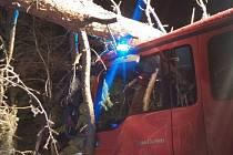 Borovice spadla při zásahu na automobil dobrovolných hasičů z Ostrova nad Oslavou. Větev stromu projela kabinou jako nůž máslem.