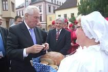Prezident Miloš Zeman v Novém Městě na Moravě.