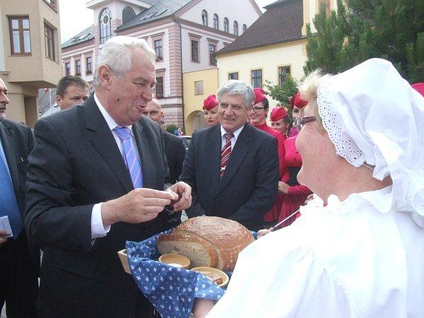 Prezident Miloš Zeman vNovém Městě na Moravě.