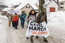 Občanský pochod pro Aleppo.