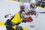 Hokejové utkání mezi HC Moravské Budějovice 2019 a SKLH Žďár nad Sázavou.