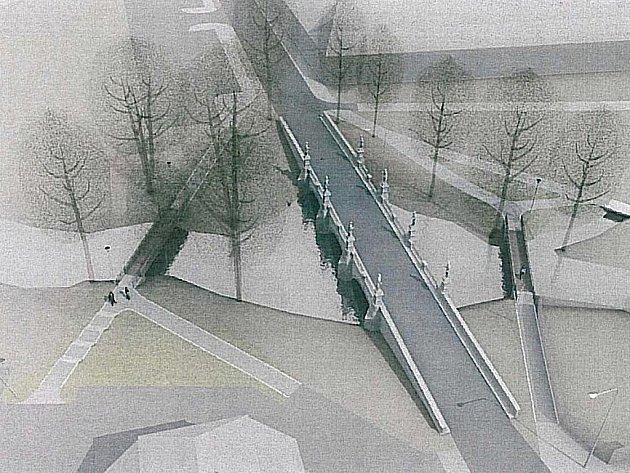 Podél barokního mostu přes Stržský potok u žďárského zámku vede zatím jedna lávka pro pěší (na vizualizaci vpravo). Do května ji doplní nový mostek na opačné straně.