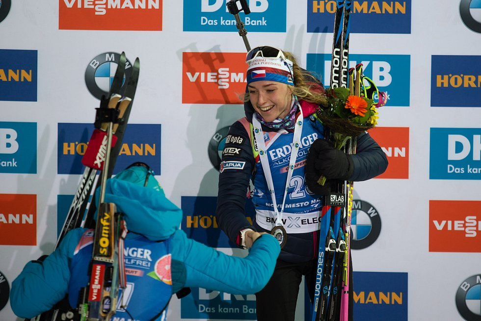Sprint žen v rámci Světového poháru v biatlonu v Novém Městě na Moravě. Na snímku Markéta Davidová.