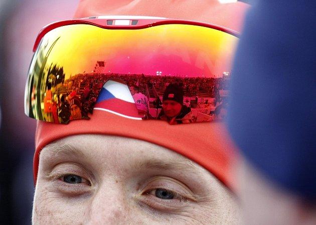 Na snímku Ondřej Moravec před tribunami po závodě mužů.