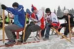 """Při """"sáňkování"""" po ledě musejí závodníci pořádně zabrat. Jakmile však saně """"chytí tempo"""", jedou prý po ledové dráze skoro stejně rychle jako dračí lodě po vodní hladině."""