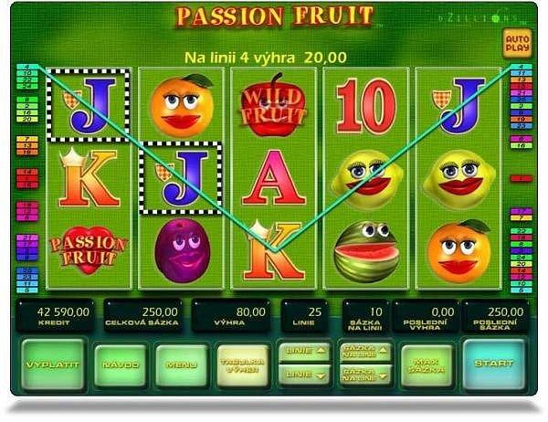 Hra Passion fruit z videoloterního interaktivního terminálu.