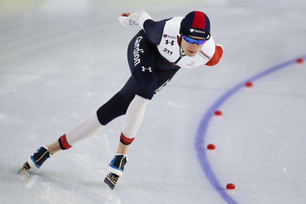 Česká rychlobruslařka Martina Sáblíková v závodu na 3000 metrů na MS v Heerenveenu.