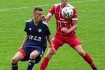 V utkání pátého kola letošního ročníku MSFL doma podlehli fotbalisté Nového Města (v modrém) Dolnímu Benešovu 0:1.