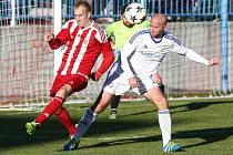 Fotbalisté Bystřice (v pruhovaných dresech), ilustrační foto