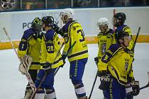 Hokejový zápas krajské ligy mezi HHK Velké Meziříčí a HC Spartak Velká Bíteš.