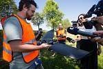 Dron s kamerou 13. srpna 2020 snímkoval lesy v okolí Vysočina arény a pomáhal v odhalení stromů napadených kůrovcem.