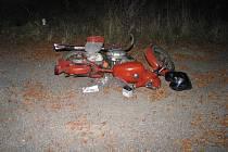 Motorka, na které zahynul mladý jezdec u Bohdalova.