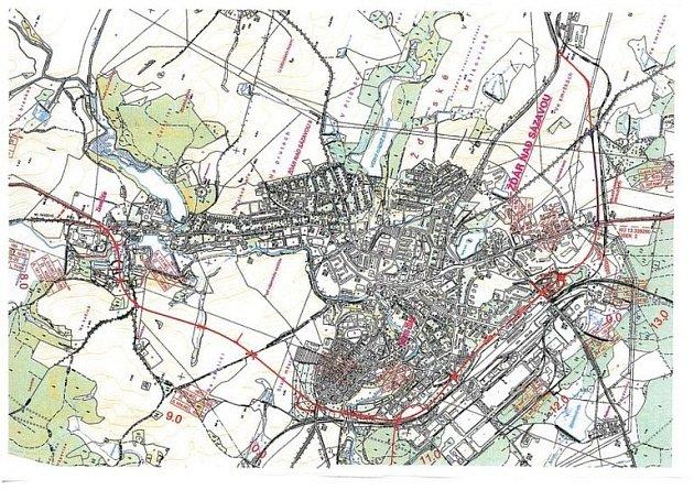 Zamýšlená trasa obchvatu Žďáru.