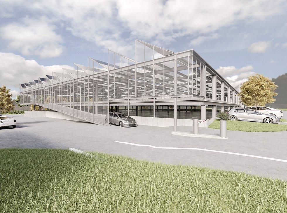 Vizualizace nové haly a parkovacího domu.