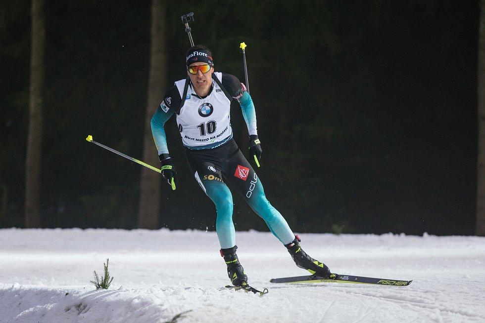 Závod SP v biatlonu (sprint 10 km muži) v Novém Městě na Moravě. Na snímku: Quentin Fillon Maillet.