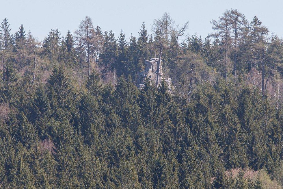Pohledecká skála 812 metrů nad mořem.