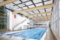 Městským lázním v Novém Městě na Moravě bude dominovat plavecký bazén umístěný za hlavní prosklenou stěnou. Jeho čtyři dráhy o délce pětadvacet metrů v něm dovolí pořádat i plavecké závody.