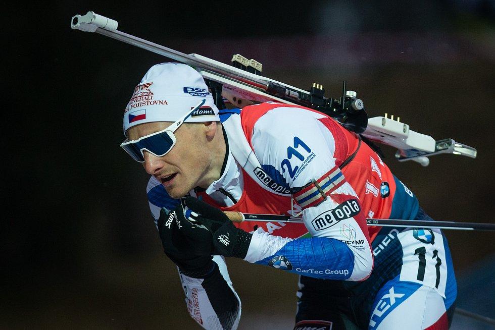 Závod SP v biatlonu (štafeta mužů 4 x 7,5 km) v Novém Městě na Moravě. Na snímku: Ondřej Moravec.