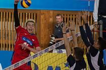 Volejbalová kvalifikace na Mistrovství Evropy juniorů do 20 let mezi Českou republikou a Řeckem.