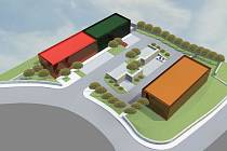 Služebna pro státní policii (hnědý objekt) vznikne naproti budově pro městské strážníky (zelený objekt). Červeně značená budova bude rezervou pro budoucí záměry.