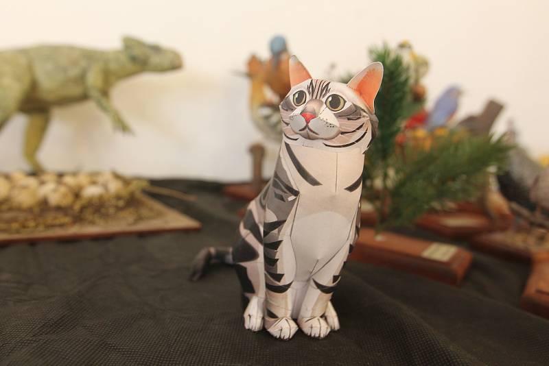 Návštěvníci výstavy mohli vidět i papírový model kočky.