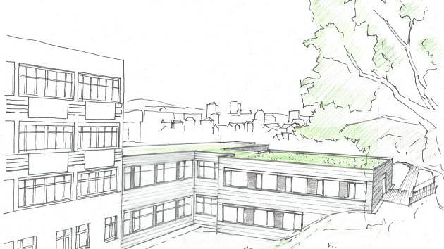 Stávající pavilon dětského oddělení v novoměstské nemocnici bude zbourán, na jeho místě vyroste nová budova s možností další nástavby.