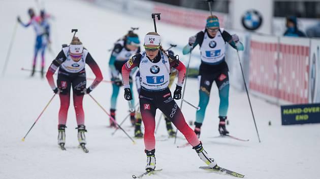 Závod SP v biatlonu (štafeta ženy 4 x 6 km) v Novém Městě na Moravě. Na snímku: Norská závodnice Tiril Eckhoff.