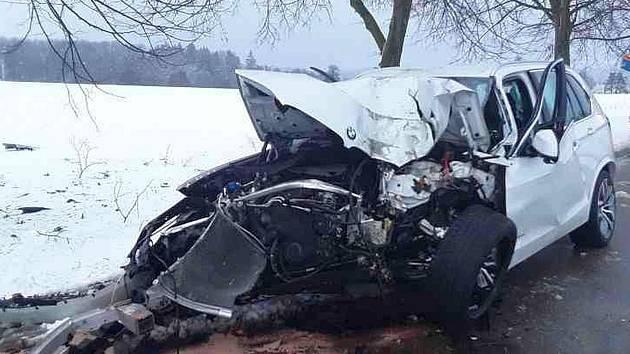 Sobotní nehoda u Křižanova.