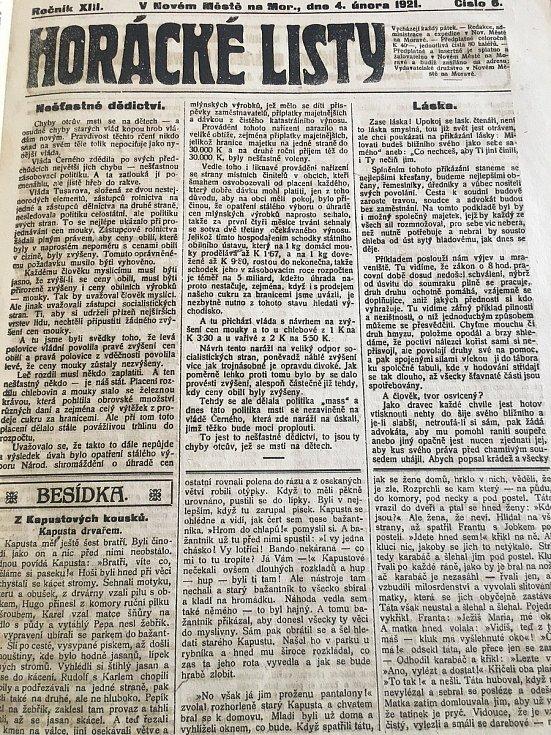 Důležité zprávy lze vyčíst z dobového tisku, Horáckých listů. Reprofoto: