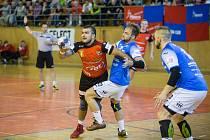 Nové Veselí (v červeném dresu Nikola Sekulič) si letos vyzkoušelo líté boje v evropských pohárech.