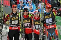 Čtveřice Jaroslav Soukup, Veronika Vítková, Gabriela Soukalová a finišman Ondřej Moravec získala ve smíšené štafetě na domácím mistrovství světa v roce 2013 bronz.
