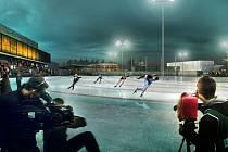 Takhle nějak by to jednou mohlo u žďárského zimního stadionu vypadat. Čtyři sta metrů dlouhý rychlobruslařský ovál s umělým chlazením doplní tribuny.
