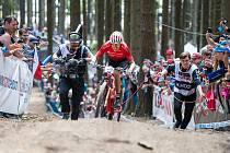 Ondřej Cink při posledních závodech SP v cross country horských kol v Novém Městě na Moravě.