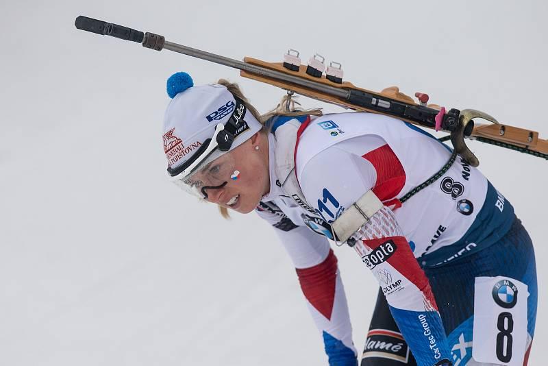 Závod SP v biatlonu (štafeta ženy 4 x 6 km) v Novém Městě na Moravě. Na snímku: Eva Kristejn Puskarčíková.
