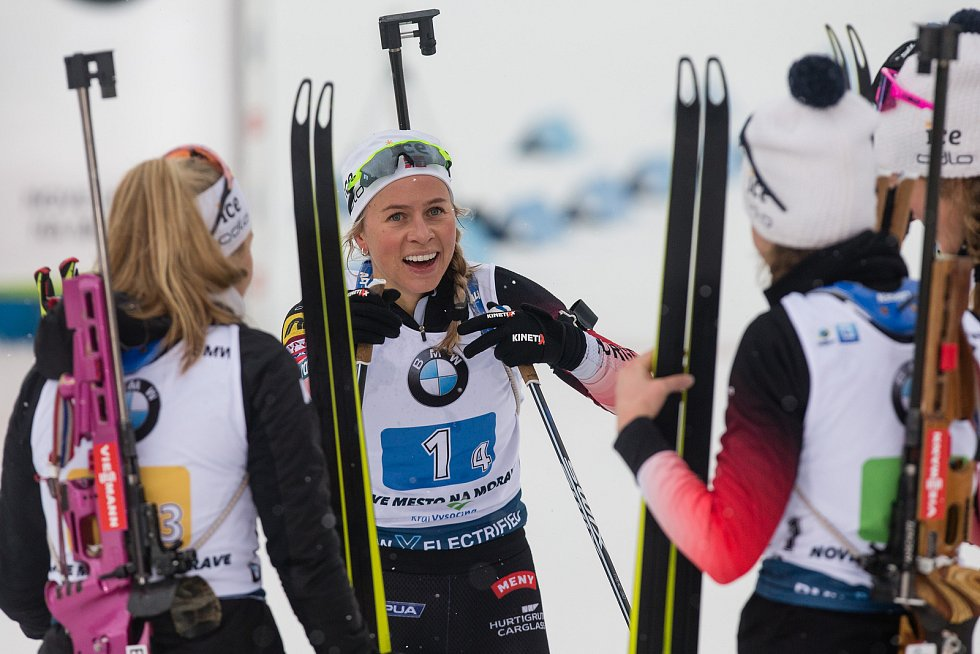 Závod SP v biatlonu (štafeta ženy 4 x 6 km) v Novém Městě na Moravě. Na snímku: Tiril Eckhoff z Norska.