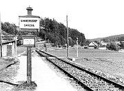 Zastávka Smrčná v období německé okupace.