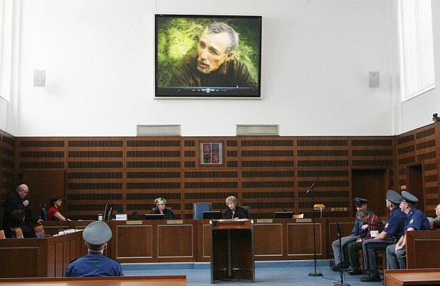 Promítání policejního videozáznamu, kde Antonín Novák dovedl policii na místo činu.